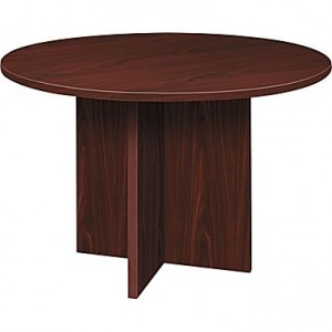 """Basyx by HON 48"""" Round Conference Table, Mahogany"""