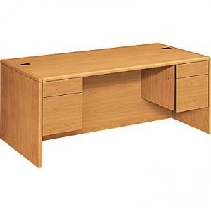 """HON 10700 Series 72"""" Double Pedestal Desk, Harvest"""
