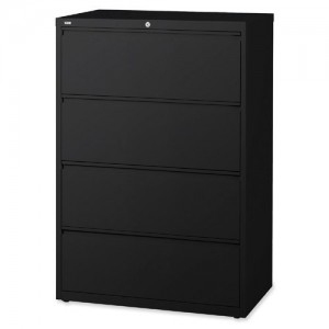 Lorell 4-Drawer Lateral File, Black
