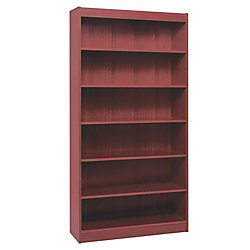 Lorell Panel-End Hardwood Veneer Bookcase, 6 Shelves, Mahogany