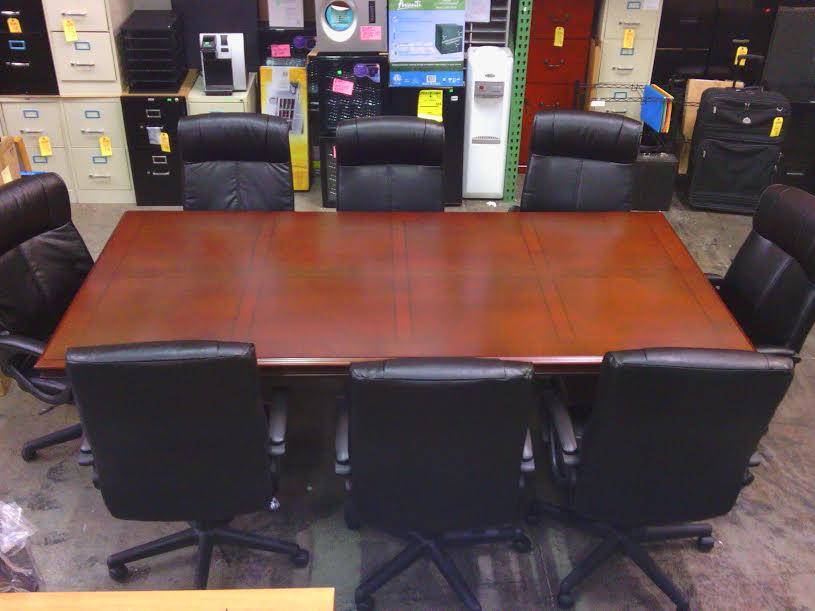 DMI-Keswick-Turcotte-Conference-Set-Side & Conference Table Set 8u2032 Table w/8 Executive Chairs 9-Piece Set ...